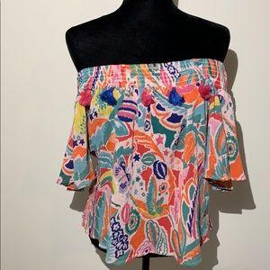Bandanna print tassel off the shoulder colorful